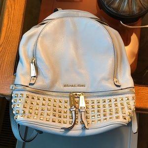 Michael Kors blue Medium Rhea studded backpack